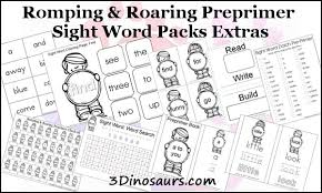 Pre Primer Dolch 3 Dinosaurs Preprimer Sight Word Pack Review And Giveaway True Aim