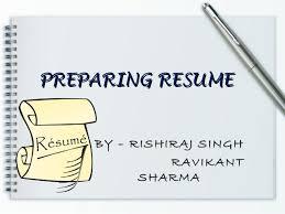 Preparing A Resume Resume Prepration Resume Writing