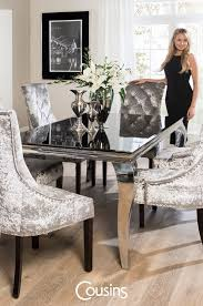 Combination offer Table (1600) Black + 4 Louise Chairs (silver crushed  velvet)