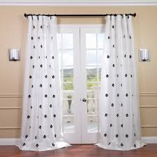 exclusive fabrics mirror white embroidered faux silk 120 inch curtain panel by exclusive fabrics