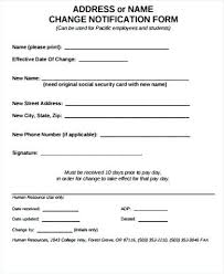 Change Of Address Template Word Employee Form Free Letter