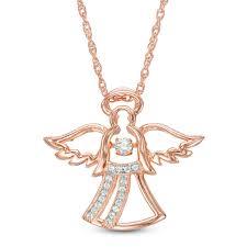 unstoppable love lab created white sapphire angel pendant in sterling silver with 14k rose gold plate