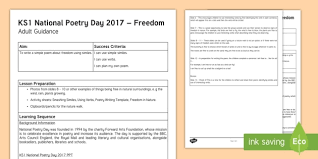 Ks1 National Poetry Day Resource Pack Planning And Adult Guidance