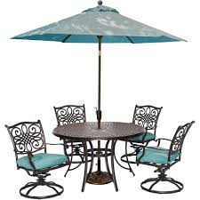 traditions 5 piece outdoor round patio dining set 4 swivel rockers umbrella and