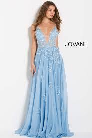 Long Light Dress Light Blue Floral Embroidered Plunging Neckline Jovani Dress 58632