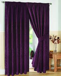 pair of fully lined aubergine 90 width x drop 108 jacquard swirl design pencil pleat curtains with matching tiebacks by viceroy bedding co uk