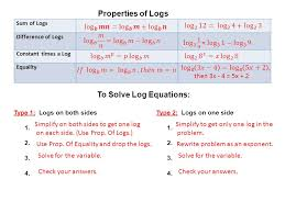 sum of logs difference of logs constant times a log equality to solve log equations