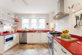 White Cabinets & Red Countertops farmhouse-kitchen