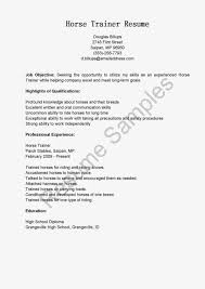 Personal Trainer Resume Examples Horse Trainer Resume Brilliant Ideas Of Personal Trainer Resume 49