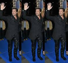 brad pitt wearing leather trousers