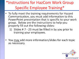 Employee Training Powerpoint Ppt Instructions For Hazcom Work Group Specific Employee Training