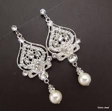 bridal earrings pearl earrings chandelier earrings ivory or white pearl statement earrings pearl and rhinestone earrings bride pearl stella