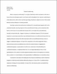 essay on classical conditioning brooke rixon ap psychology