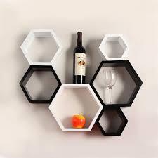 desi karigar wall mount shelves hexagon shape set of 6 wall shelves white black buzy kart