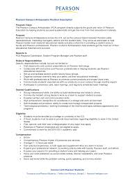 Pearson Campus Ambassador Position Description Program Vision The Pearson  Campus Ambassador (PCA) program directly ...