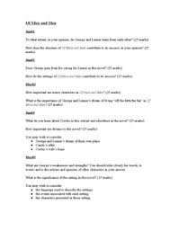 of mice and men past paper questions document in gcse english  preview of page 1 of mice and men