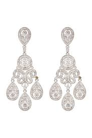 image of nadri large teardrop chandelier earrings