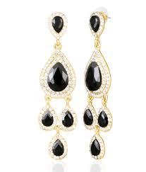 big tree golden and black diamond chandelier earrings for women