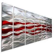 caliente red silver modern abstract metal wall art by jon allen 68 x 24