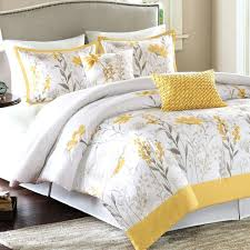 yellow grey and white duvet cover fl ruffle comforter with cool headboard cream wall for