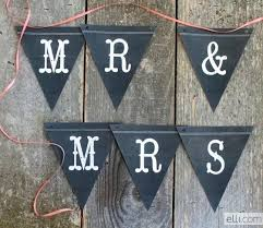 Printable And S Chalkboard Pennant Banner Template Free Just Married ...