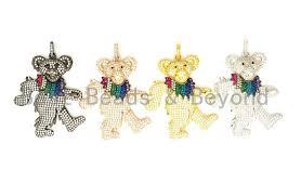 cz micro pave dancing teddy bear pendant cubic zirconia focal pendant gold silver rose gold black 36x45mm sku f515