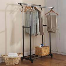 ... Wardrobe Racks, Rolling Hanging Clothes Rack Clothes Rack Amazon Black  Double Rod Adjustable Clothes Rack ...