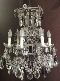 a cut glass crystal and metal 6 light chandelier italy early 20th century