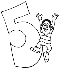 Small Picture Birthday Coloring Page A Boy Jumping Beside The Number 5