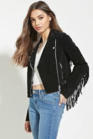forever 21 fringed genuine suede jacket