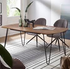 Esszimmertisch Kela 180x90x76 Cm Sheesham Massivholz Esstisch Mit Metallbeinen Massiver Echtholz Tisch Quadratisch Designer Holztisch Massiv