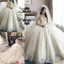 luxury princess ball gown lace wedding dresses with cathedral