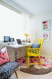colorful home office. officecolorful beach home office with small desk and yellow chair on round pink rug colorful