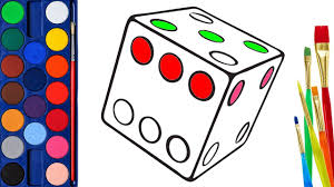 How to Draw Dice Coloring Pages for Kids | Art Colors for kids ...