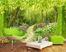 Beibehang Kundengebundene Größe Fototapete Wald Pfad Blume Gras Landschaft Hintergrund Wandbild Wohnzimmer Schlafzimmer Tapeten
