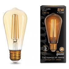 Светодиодная <b>лампа Gauss</b> LED <b>Filament</b> ST64 E27 8W Golden ...