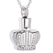 whole crown with crystal ash keepsake urns necklace pet human ashes cremation urn pendant necklace hold ashes funeral urn casket family pendant necklace