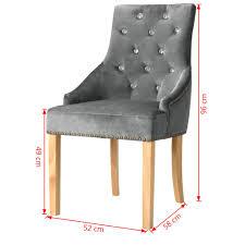 Paket 2er Set Design Esszimmerstuhl Samt Bezug Silbern Küchenstuhl Essstuhl Polstersessel Mit Eiche Holzrahmen Barock Vintage Polsterstuhl