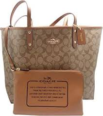 Coach Signature Reversible PVC City Large Tote Bag Handbag