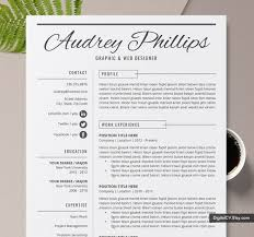 Creative Resume Template For 2019 2020 Professional Cv Cover Letter Word Resume 1 Page 2 Page Instant Download Mac Or Pc The Audrey