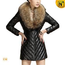 women s slim sheepskin leather down coat rac fur collar cw692305