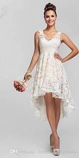 discount vintage high low lace ivory wedding dresses v neck