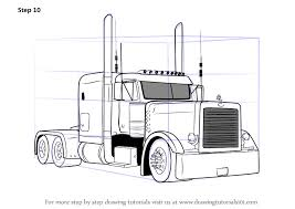 how to draw a big truck peterbilt semi truck coloring pages sketch coloring page
