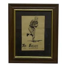Vintage 1945 A Dier Framed Ted Fritsch Football Drawing Chairish