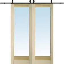 clear 1 lite unfinished poplar double barn door with sliding door hardware kit