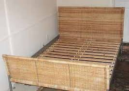 IKEA Sundnes Wicker Bedframe (double Bed) With 2 Under Bed Storage Drawers    Mattress