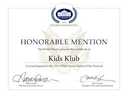Honorable Mention Certificate Kids Klub Students Awarded Honorable Mention In Whitehouse