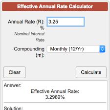 Effective Annual Rate Ear Calculator