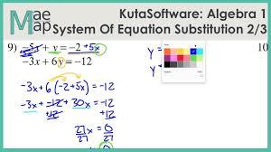 kuta algebra 1 system of equations substitution part 2