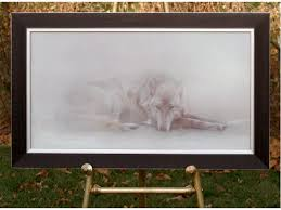 arctic ghost arctic wolf original acrylic wildlife painting on masonite is sold open